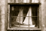 model sailboat in antique window poster