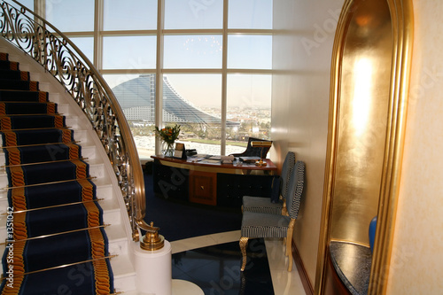 Aluminium Dubai entrance to room at burj al arab, jumeirah beach h