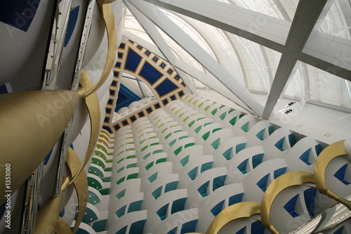 upward view of lobby in burj al arab Poster