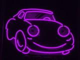 purple neon car poster