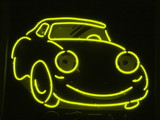 yellow neon car poster