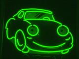 green neon car poster
