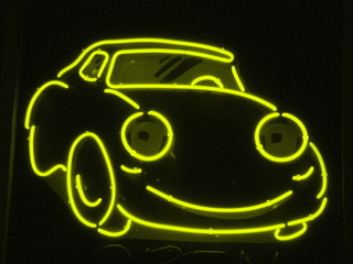 yellow neon car