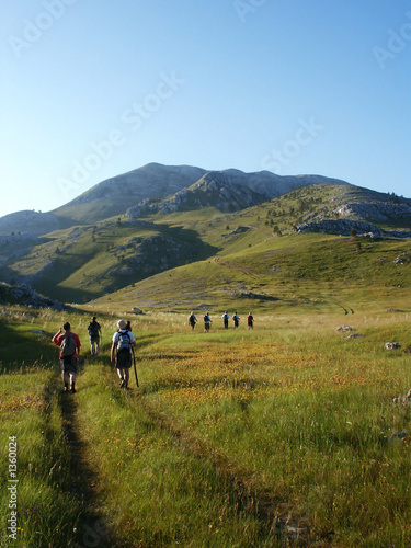 team climbing on highest croatian mountain