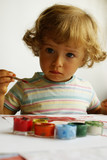 little girl painting poster