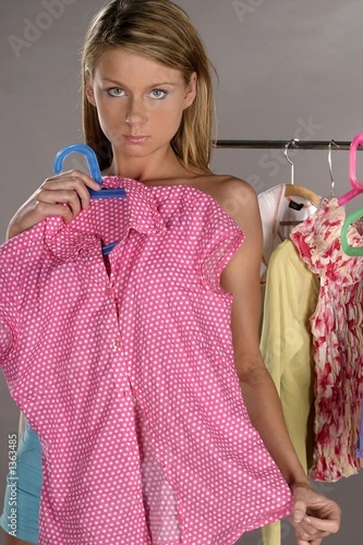 woman trying on clothes