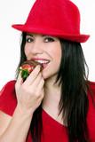 girl eating strawberries poster