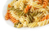 cooked tricolor pasta spirals poster