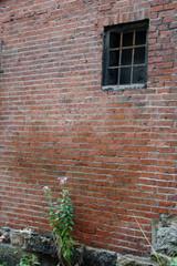 barred window in brock wall
