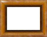 antique light polished wooden picture frame isolated poster