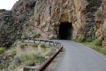 road tunnel into rock