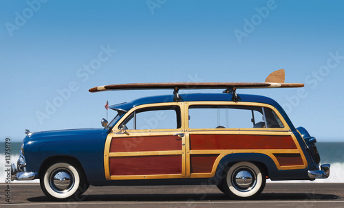 Deurstickers Vintage cars woody-profile