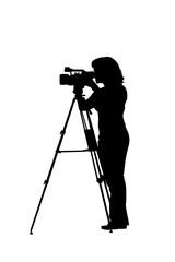 silhouette frau mit videokamera