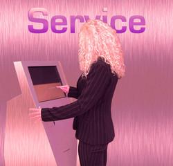 geschäftsfrau service pink