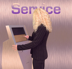 geschäftsfrau service terminal