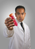 scientist with test tube radiant gradient bg poster