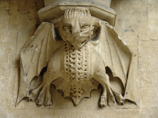 imp carving on chruch wall