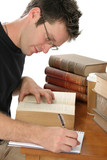 handsome young male studying poster