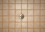 shower tile work and drain poster
