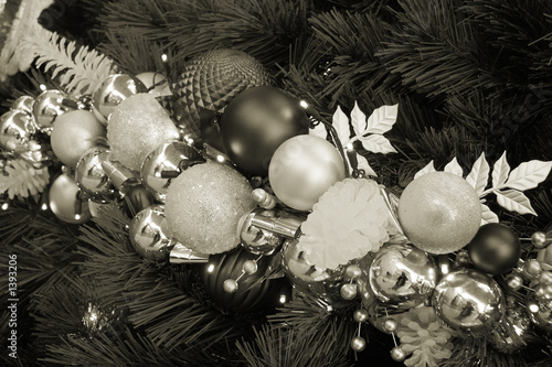 christmas tree ornaments sepia