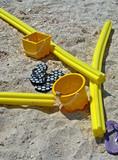 beach stuff in yellow poster
