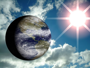 3d earth with sun and sky on the background