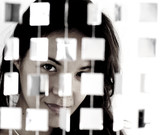 woman behind mirrored beads poster