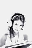 headphone woman poster