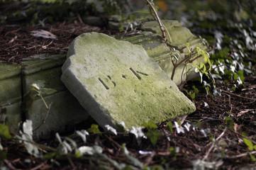 fallen headstone