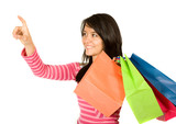 beautiful teenager with shopping bags poster