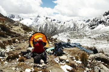 yellow tent in the cordillera mountain