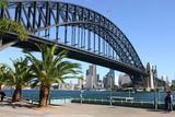 sydney city, harbour and sydney harbour bridge poster
