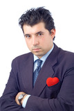confident businessman with a red heart poster