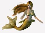 gold mermaid poster