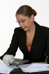 business woman pencil in mouth