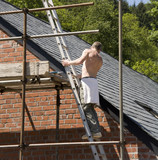 builder up ladder fixing roof poster