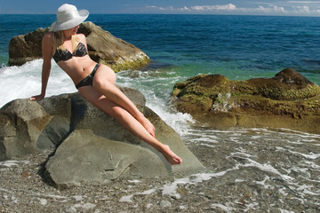 girl on stones