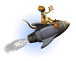 rocket riding gecko