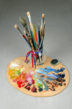 artists brushes and palette poster