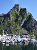 yachts in mountain marina in norway poster