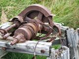 old rusty windlass machine poster