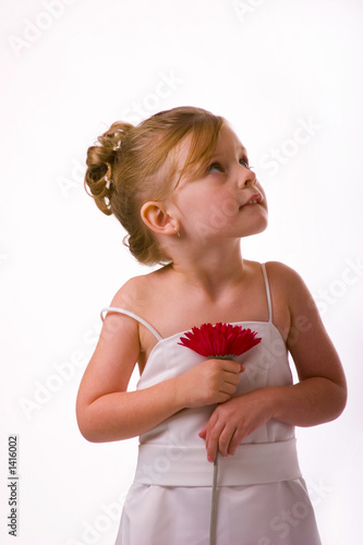 beautiful flower girl with blue eyes