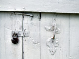 old door with a padlock and a handle poster