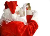 santa stuffs stocking poster