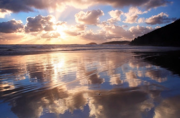 sunset cloud reflection