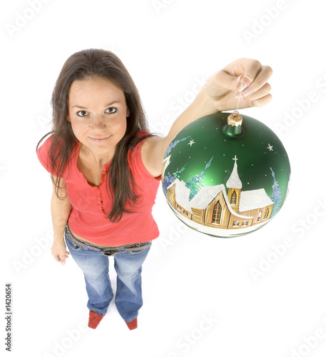 young woman with christmas bauble