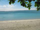 plage de sable blanc et lagon turquoise poster