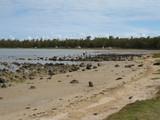 plage sable blanc, lagon marée basse poster