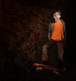 skater boy with a cool attitude. grunge style poster