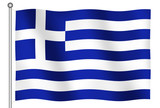 flag of greece waving poster